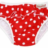 ImseVimse mosható úszópelenka - Piros pöttyös-fodros