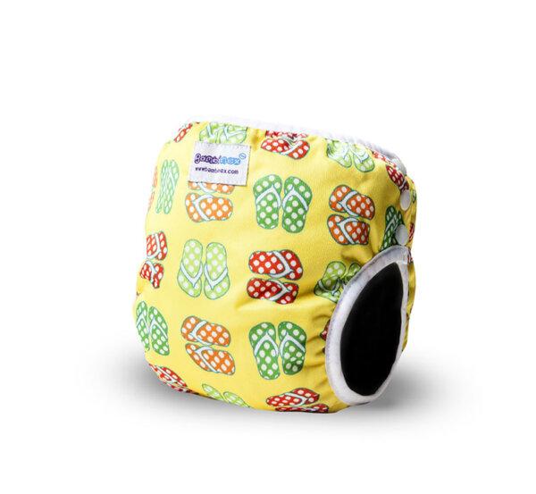 Bambinex oldalt patentos mosható úszópelenka - sárga papucsos
