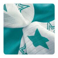 Xkko Bambusz-pamut törlőkendő (9db) - Türkiz csillag