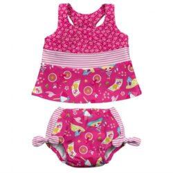 I-play - Leszoktató és úszópelenka + UV szűrős tankini - Hot Pink Cabana