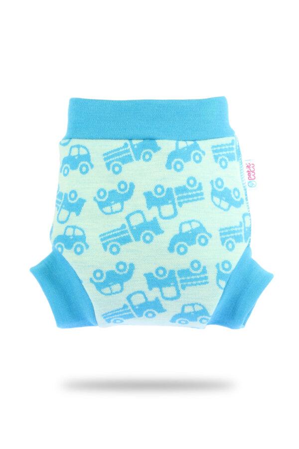 Petit Lulu gyapjú mosható pelenka külső - türkiz autók
