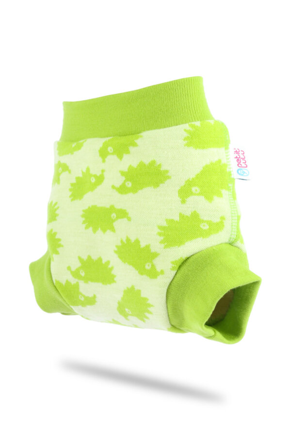 Petit Lulu gyapjú mosható pelenka külső - almazöld sünik