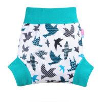 Petit Lulu nadrágfazonú PUL mosható pelenka külső - Türkiz madarak