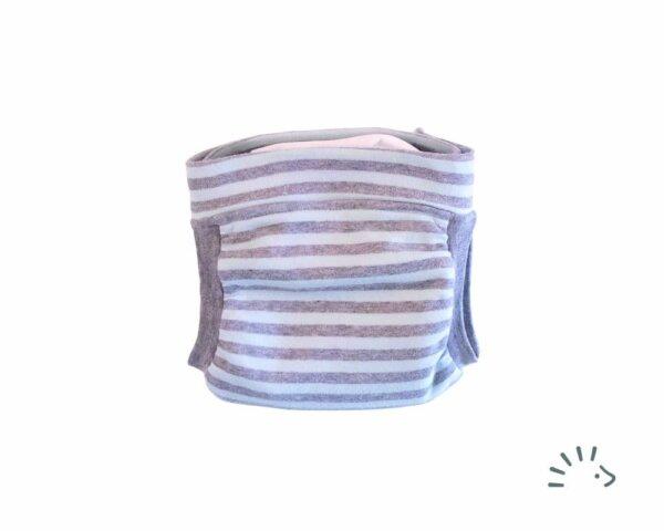 Popolini Easy Free csónakos mosható pelenka - Kék-szürke csíkok
