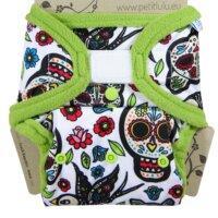 Petit Lulu PUL mosható pelenka külső - Mexican Skulls (fehér alapon)