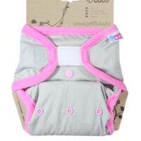 Petit Lulu PUL mosható pelenka külső - Szürke (rózsaszín szegéllyel)