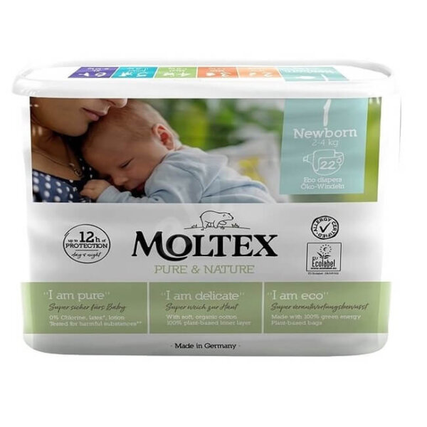 MOLTEX ÖKO pelenka 1, újszülött (2-4 kg), 22 db