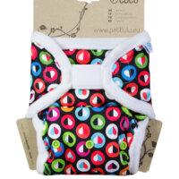 Petit Lulu PUL mosható pelenka külső prefoldtartó füllel - Színes szívek
