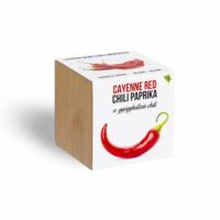 Cayenne red chili paprika növényem fa kockában