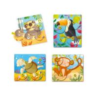 Quercetti - Montessori Giro állatos puzzle (4 darabos)